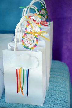Rainbow Birthday Party Favor Bags from a Vintage Rainbow Birthday Party via Kara's Party Ideas Bags from a Vintage Rainbow Birthday Party via Kara's Party Ideas My Little Pony Cumpleaños, Fiesta Little Pony, Little Pony Party, Trolls Birthday Party, 10th Birthday Parties, Birthday Party Favors, 8th Birthday, Birthday Ideas, Troll Party