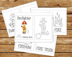 Firefighter Coloring Book Printable | Fireman Birthday Party Coloring Book | Coloring Book Party Favor | Instant Download PDF | Fire Truck by ThePaperGiraffeShop on Etsy