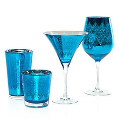 Puccini Glassware - Peacock Set of 4    I love how the color makes these POP!