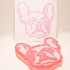 French Bulldog Stamp  Pied Frenchie Dog Hand Carved. I'm thinking about making my own wrapping paper this year.