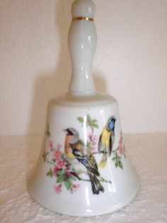 Porcelain BELL with 2 Birds & Flowers Same on both sides Made in JAPAN