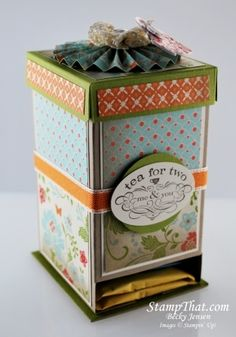 Handmade Tea Dispenser with Stampin' Up! Everyday Enchantment Designer Series Paper
