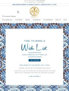 """Tory Burch pre-birthday """"make a wish list"""" email campaign"""