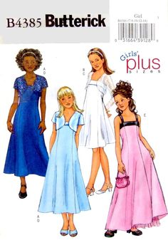 Butterick B4385 Bolero/Jacket & A-Line Dress - Girls Plus Size 7 to 14 UNCUT, Bridesmaid, Graduation, Easy Sew - Suitable for any occasion. by LaraineRoseHandiWorx on Etsy
