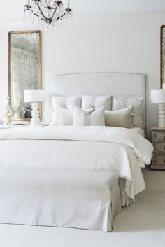 Home Decor Scandinavian chic white bedroom.Home Decor Scandinavian chic white bedroom. Master Bedroom Plans, Master Bedroom Design, Dream Bedroom, Home Bedroom, Master Bedrooms, Bedroom Designs, Romantic Bedroom Design, Master Suite, All White Bedroom