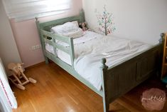 Paint Tales - Country style kids bed painted in custom mix Miss Mustard Seed milk paint Furniture, Toddler Bed, Refurbished Furniture, Painted Furniture, Home Decor, Kid Beds, Milk Paint, Paint Colors, Bed