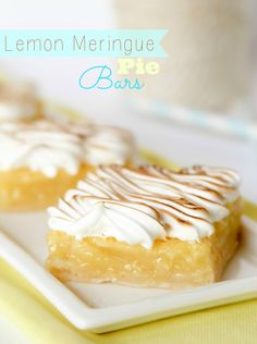 These bars have all the flavor of lemon meringue pie, in easy to eat and serve bars!!
