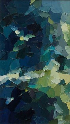 Nocturne: Woodland - Original Oil Painting in deep blues and fresh summery greens (37.5x21.5 cm - app. 14.8x8.5 in):