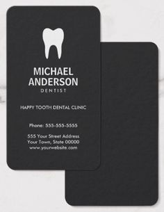 Stylish, dark dentist or dental business cards with white tooth logo on a dark gray background. With or without rounded corners. Many paper types available. A classy and elegant design for anyone working with teeth for example dentists, dental assistants, dental surgeons and hygienists.