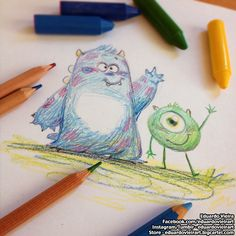 11/12 KITTY! #monstersinc #mikewazowski #sully #pixar #sketch #sketches #color #crayons #colorful #coloredpencil #painting #redhead #sketchbook #moleskine #cartoon #character #design #characterdesign #concept #art #ilustração #illustration #tumblr #vsco #eduardovieira #eduardovieirart