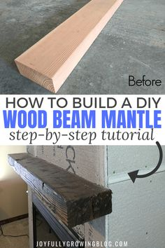 Learn how to build a DIY wood beam mantle like a pro with this easy DIY tutorial! These tips for distressing wood are so good! Add a distressed wood beam mantel to your fireplace this year for a rustic farmhouse style home.