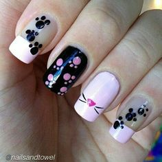 Amazing Cat Nails Designs For You. Cat nails designs are the ones that you can`t miss trying. Cat Nail Art, Animal Nail Art, Cat Nails, Pink Nails, Girls Nails, Paw Print Nails, Cat Nail Designs, Nails Design, Nagel Hacks