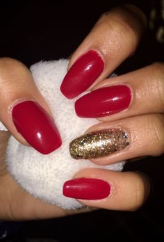 @zharakb - nails / red / gold detail / sparkly / Christmas / festive / acrylics / coffin / OPI /Amore at the grand canal / classics