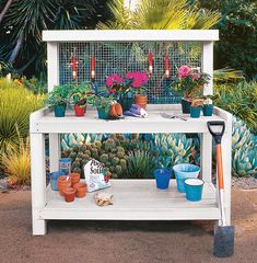 Hubby built me a potting bench/table but I dont have anywhere to hang implements. Maybe I can get screen added to the back like in this one for that reason. Or add hooks to the sides of the tabletop like in the other potting table/bench pin. Outdoor Potting Bench, Pallet Potting Bench, Potting Tables, Weekend Projects, Backyard Projects, Outdoor Projects, Garden Projects, Pallet Projects, Garden Ideas