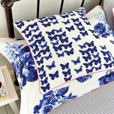 Joules Butterfly Floral Cushion