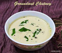 Groundnut/Peanut Chutney - Do you like peanuts? Then you will love this delicious chutney.. Enjoy with idli, dosa, upma, rava idli or uttappam.  #peanutchutney #chutneyrecipes #indianchutneys #sidedishtoidli