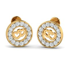 The Stud is beautifully entangled with twin gold hearts with full of CZ stones. Buy our best valentine day jewellery collection online for affordable cost. Buy Earrings, Heart Earrings, Gold Jewelry, Jewelery, Diamond Earrings, Diwali Sale, Gold Gifts, Valentines Day Hearts, Forever