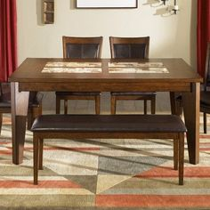 Aspen Skies 6 Piece Dining Table Set in Cognac by Liberty. $1373.94. Aspen Skies Dining Table Set in Cognac Features: -Tapered block legs.-Emperadora marble veneer inserts.-Baseball stitching.-Upholstered in dark brown vinyl.-Thick dining table top. Includes: -Set includes table, four side chairs, and bench.-Includes one 18'' butterfly leaf (gt6060). Color/Finish: -Finish: Cognac.
