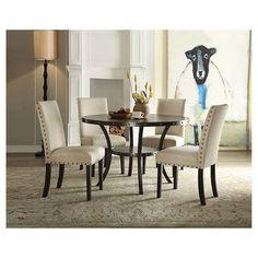 biony espresso wood dining set with tan fabric nailhead chairs, Esstisch ideennn