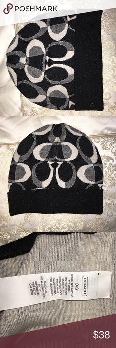 Coach winter hat Black sparkly never worn Coach winter hat one size Coach Accessories Hats
