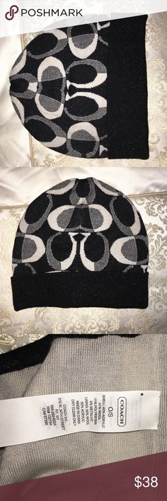 Coach winter hat Black sparkly never worn Coach winter hat one size Coach Accessories Hats