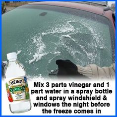 Avoid scrapping ice off your windshield each morning with this simple, homemade solution! If your windshield is already frozen spray this solution on it to help melt the ice quicker. Check these other great tricks to avoid some winter inconveniences #diyfixes #homemadeproducts #wintertips