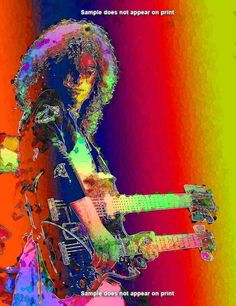 JIMMY PAGE Led Zeppelin Large 20 x 15 Giclee Art by EisnerArt