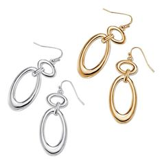 """The luxe look of liquid metal makes a statement. Simple details let the details take the stage. Chunky open double-oval link pierced earrings with Fishhook and rubber stopper clutch. Earrings are approx. 2"""" L. Imported."""