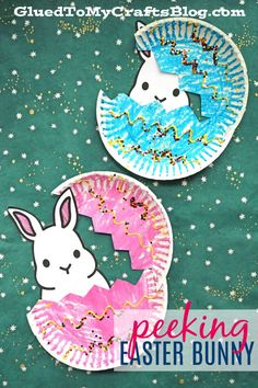 Paper Plate Peeking Easter Bunny - Kid Craft - Spring Themed Tutorial - Free Bunny Body Printable Included To Get You Started With Ease! Paper Plate Crafts For Kids, Spring Crafts For Kids, Preschool Crafts, Kids Crafts, Craft Projects, Craft Ideas, Wood Crafts, Easy Crafts, Easter Art