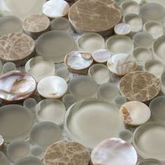 Ocean Mosaics Tiles & Accessories - Circular glass mixed with mother of pearl and stone | Agata Circle Shell Beige