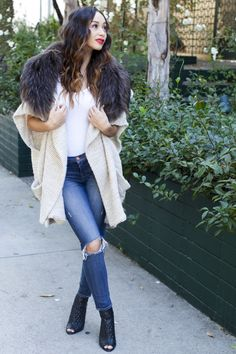 Cara Santana's casual street style look is pure comfort, including our fur collar sweater.
