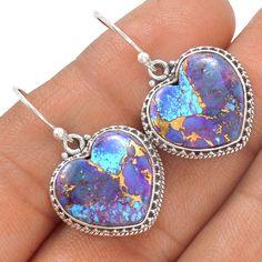 Heart - Copper Purple Turquoise 925 Sterling Silver Earrings Jewelry SE130047 | eBay