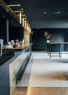 Brass lines making success in Modernist Herzog Bar Restaurant München | See more: https://www.brabbu.com/en/news-events/architecture/brass-lines-making-success-modernist-herzog-bar-restaurant-munchen