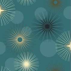 Jazz Teal (532903) - Arthouse Wallpapers - A star-burst circle retro pop art style geometric design. Shown in black and gold on teal blue. Please request sample for true colour match.