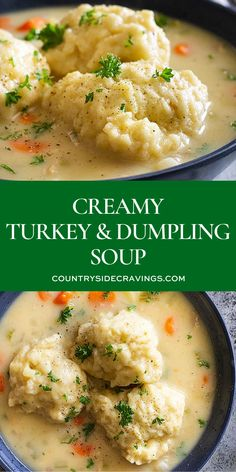 This Creamy Turkey and Dumpling Soup is a great way to use up leftover turkey and herbs from Thanksgiving Or substitute with chicken to make any time of the year turkeysoup souprecipe Turkey And Dumplings, Dumplings For Soup, Chicken Dumpling Soup, Chicken Soup Recipes, Chicken Soups, Best Soup Recipes, Recipe Chicken, Ravioli, Leftovers Recipes