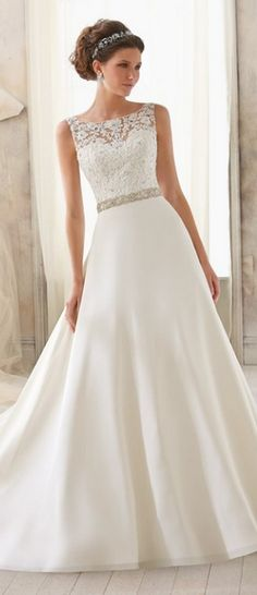 high neck lace neckline chiffon with gorgeous pearl beaded belt #wedding #love