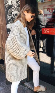 Search for chunky cardigan at ASOS. Shop from over styles, including chunky cardigan. Knitwear Fashion, Knit Fashion, Look Fashion, Winter Fashion, Fashion Outfits, Fashion 2017, Cream Cardigan Outfit, Cardigan Outfits, Winter