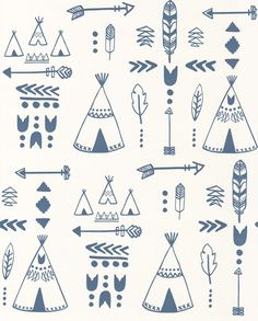 Teepees Indigo / White wallpaper by Hibou Home