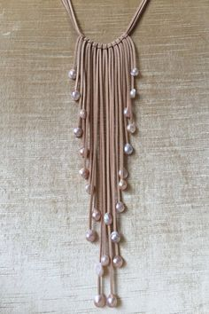 Handmade Pearl on Leather Boho Tassel Necklace,Leather Choker,Leather Jewelry,Long Tassel Necklace,Handmade Leather Necklace,Fringe Necklace