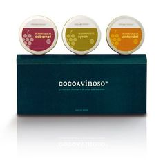 A delicious collection of premium dark chocolates, packaged in elegant five-ounce round tins, the CocoaVinoso Three-Tin Gift Set is an enticing surprise for the sophisticated connoisseur of gourmet wine and chocolate. #gourmetchocolate