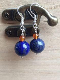 Lapis Lazuli & Agate Earrings, Royal Blue And Orange Earrings, Small Boho Earrings, Modern Clip On, Gypsy Earrings, Womens Gifts, UK…