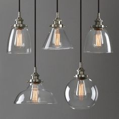 Modern Industrial Brushed Steel Pendant Light Glass Shade Filament Ceiling Lamp