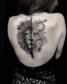 See more ideas about Tattoo ideas, Simple lion tattoo and Tattoo designs. Trendy Tattoos, Unique Tattoos, Beautiful Tattoos, Tattoos For Guys, Inspiring Tattoos, Lion Back Tattoo, Back Tattoo Women, Leo Tattoos, Body Art Tattoos