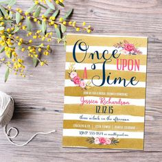 storybook baby shower invitation once upon a time bridal shower gold stripe navy pink vintage high tea (item 1379) shabby chic invitations