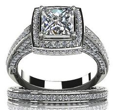 $3,475  -  * EGL CERTIFIED * 1.86 CARATS PRINCESS CUT DIAMOND HALO BRIDAL SET ON 14K SOLID WHITE GOLD F 26 D http://www.amazon.com/dp/B00OU7827C/ref=cm_sw_r_pi_dp_BTNyub1V06JFN