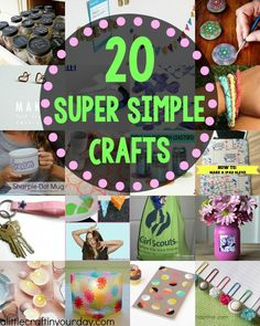 Just because these crafts are super simple does not mean they aren't awesome. I've rounded up 20 of my favorite Super Simple Craft Ideas, you're going to love them. There are crafts perfect for everyone in here! Diy Projects For Teens, Diy For Teens, Crafts For Teens, Craft Projects, Craft Ideas, Teen Crafts, Craft Tutorials, Cute Crafts, Crafts To Sell