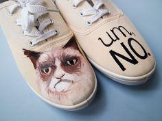 handbemalte Schuhe mit grumpy cat // hand painted shoes via DaWanda.com