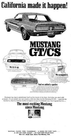 History of the California Special Mustang: Original 1968 California Special Advertisement