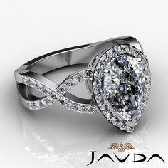 Curve Shank Pear Diamond Halo Engagement Ring GIA F VS2 18K White Gold 2 22ct | eBay