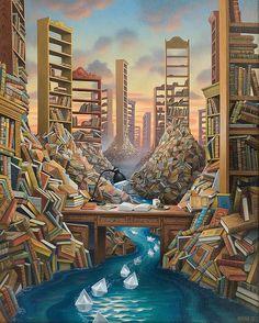 O cão que comeu o livro...: As bibliotecas surrealistas de Jacek Yerka / Jacek Yerka´s surrealist libraries